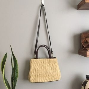 Vintage Straw and Leather Crossbody Shoulder Bag